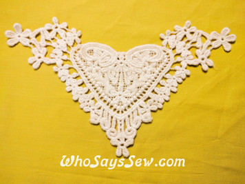 Small Cotton Lace Collar/Yoke in Snow& Natural White (S0110)