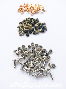 9mm Double Cap Rivets. 3 Shank Sizes + 4 Colours Available