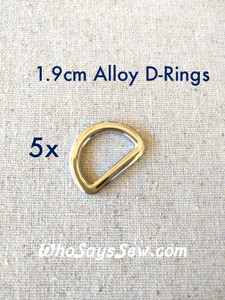 5x 1.9cm Flat Alloy D-Rings in Shiny Nickel