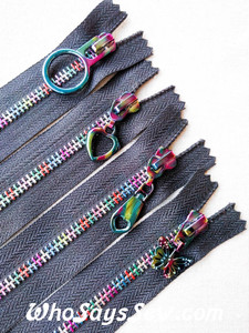 Rainbow Metal Teeth Closed Ended Zipper with a Rainbow Iridescent Pull. 3 Pull Styles. 20cm, 25cm, 30cm and 38cm. Size 5. Nickel Free.