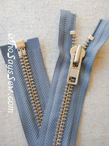 "YKK Size 8 Separating/Open Ended 75cm(30"") Zipper with Silver Brass Metal Teeth. Heavy Weight for Jackets. MID GREY Tape"