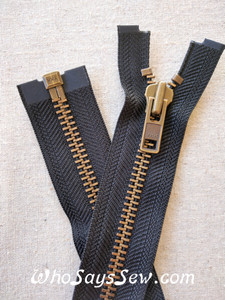 "YKK Size 8 Separating/Open Ended 75cm(30"") Zipper with Antique Brass Metal Teeth. Heavy Weight for Jackets. BLACK Tape"