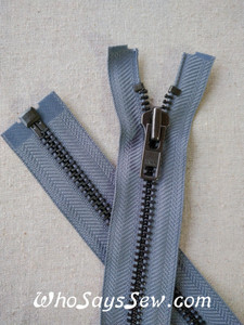 "YKK Size 8 Separating/Open Ended 75cm(30"") Zipper with Gunmetal Metal Teeth. Heavy Weight for Jackets. MID GREY  Tape"