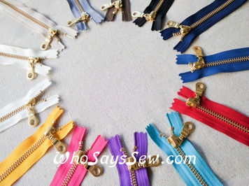YKK Closed-Ended Golden Brass Metal Zipper with Donut Pull, Size 5, 60cm. 13 Colours