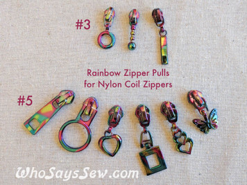 3x RAINBOW IRIDESCENT ZIPPER SLIDERS/PULLS ONLY for Continuous SIZE3/SIZE 5 Nylon Chain Zipper