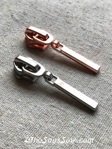 4 ZIPPER SLIDERS/PULLS for Continuous SIZE 5 Nylon Chain Zipper, Silver and Rose Gold. Minimalistic Rectangular Shape. Nickel free.