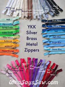 "20cm/7.9"" YKK Closed-Ended Silver Brass Metal Zipper with Light Ball-Chain Pull, Size 3. Many Colours Available."