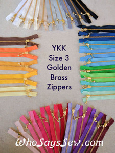 "20cm/7.9"" YKK Closed-Ended Golden Brass Metal Zipper with Light Ball-Chain Pull, Size 3. Many Colours Available."