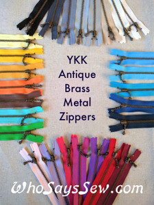 "20cm/7.9"" YKK Closed-Ended Antique Brass Metal Zipper with Light Ball-Chain Pull, Size 3. Many Colours Available."