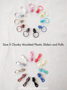 4x Size 5 Chunky Plastic Moulded ZIPPER PULLS ONLY in 11 Colours. Ring or Donut Pulls. Non-lock