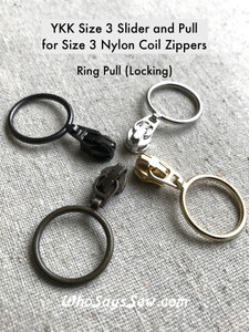(#3) 4x YKK 2cm RING AUTO-LOCK ZIPPER SLIDERS/PULLS for Continuous Nylon Chain Zipper, Silver, Gold, Antique Brass, Gunmetal.  ALL MATTE. Size 3. Nickel free.