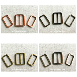 "2.5CM (1"") ALLOY RECTANGLE RINGS AND SLIDER(TRI-GLIDES). 4 NICKEL FREE FINISHES IN ROSE GOLD, SILVER, GUNMETAL, ANTIQUE BRASS"