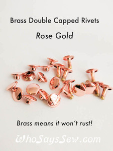 Brass 9mm ROSE GOLD Double Cap Rivets. 3 Shank Sizes 6mm, 8mm and 10mm.