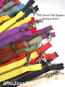 "20cm/25cm/30cm (8""/10""/12"")YKK Closed-Ended Antique Brass Metal Zipper with Donut Pull. Nickel Free"