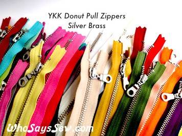 "*CHOOSE 20 ZIPPERS IN 5 COLOURS* 20cm/25cm/30cm (8""/10""/12"") YKK Closed-Ended Silver Brass Metal Zipper with Donut Pull. Nickel Free"