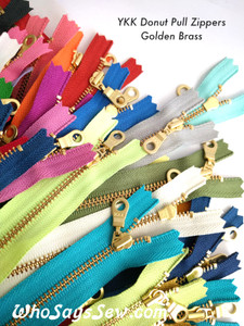 "*CHOOSE 20 ZIPPERS IN 5 COLOURS* 20cm/25cm/30cm (8""/10""/12"")YKK Closed-Ended Golden Brass Metal Zipper with Donut Pull. Nickel Free"