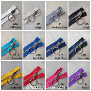 YKK Closed-Ended Silver Brass Metal Zipper with RING Pull, Size 5, 60cm. 12 Colours