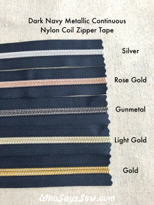 (#5) *SIZE 5* Zipper Tape Only- 1m Metallic Nylon Chain/Continuous Zip on DARK NAVY TAPE