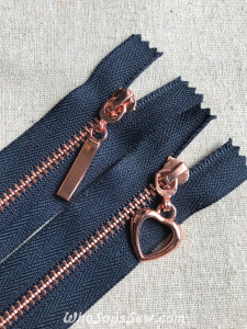 Dark Navy Tape Shiny Rose Gold Metal Teeth Zipper 15cm/18cm/20cm/30cm/50cm. 2 Pull Designs. Size 3 Closed Ended. Nickel Free