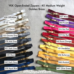 "YKK Size 5 Separating/Open-Ended Zipper with GOLDEN Brass Metal Teeth. Medium Weight for Jackets. 18 Tape Colours.  25CM (10"") TO 70CM (27.6"")"