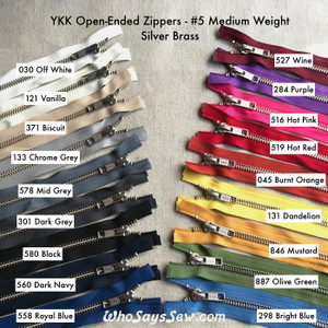 "YKK Size 5 Separating/Open-Ended Zipper with SILVER Brass Metal Teeth. Medium Weight for Jackets. 18 Tape Colours. 25cm (10"") to 70cm (27.6"")"