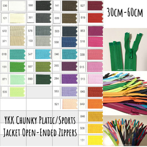"30cm-60cm(12""-23.6"") YKK Size 5 Chunky Moulded Plastic Separating/Open Ended Zipper. Medium Weight for Jackets/Vests. 36 Colours"