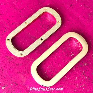 1 Pair x Screw Back, Curved Rectangular Eyelet/Grommet Bag Handles, Shiny Real Gold Finish- High Quality Nickel Free