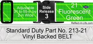 Belt Fluorescent Green Standard Duty 2-in Side Release Buckle