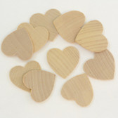 "1.25"" x 1.25"" x .125"" Hardwood Hearts / Package of 10"