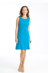 Carmen Lightweight Ponte Flip Dress in Aegean Blue