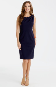 Sabrina Stretch Ponte Dress in Navy Blue