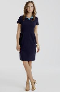 Jackie Stretch Ponte Dress in Navy Blue