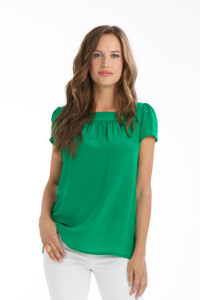 Elodie Silk Crepe de Chine Short Sleeve Tunic in Kelly Green