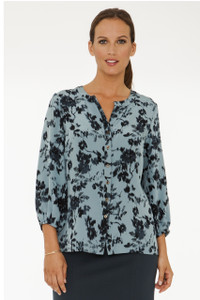 Sophie Silk Crepe de Chine Blouse in Pale Sea Green Ikat