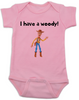 I have a Woody Baby Onesie, Woody baby onsie, Toy Story, There's a snake in my boot, punny baby gift, pink