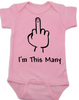 I'm This Many Baby Onesie, middle finger onsie, funny first birthday onesie, personalized birthday onesie, flipping the bird, I'm one baby bodysuit, pink