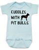 Cuddles with Pit Bulls Onesie, Pit Bull Love Infant bodysuit, Babies Best Friend, Love-a-bull Onesie, personalized dog lover onesie, cute pit bull baby clothes, badass dog onsie, Pit Bull Best Friend, blue