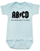 ABCD, For those about to talk, AC/DC baby onesie, for those about to rock, classic rock baby onsie, band onesie, blue