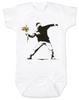 Banksy flower thrower baby onesie, Banksy baby clothing