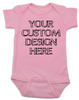 Design your own custom baby onesie, create your own infant bodysuit, Personalized baby onsie, One of a kind baby present, customized baby gift, pink