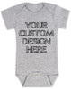 Design your own custom baby onesie, create your own infant bodysuit, Personalized baby onsie, One of a kind baby present, customized baby gift, grey