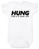 Hung like a 6 year old baby onesie, Hung baby onsie, big baby, offensive funny baby onesie, white