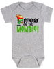 Beware of the Mombie, Mombie baby onesie, new mom zombie, Zombie Mom baby gift, New Mombie, Baby shower gift for zombie lover, grey