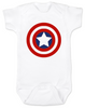 Captain America Baby Onesie, Patriotic baby onsie, 4th of July, Fourth of July, Memorial Day, holiday baby bodysuit, Made in the USA, Captain America Shield, white