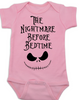 Nightmare before bedtime baby onesie, funny christmas baby clothes, nightmare before christmas, jack the pumpkin king, pink