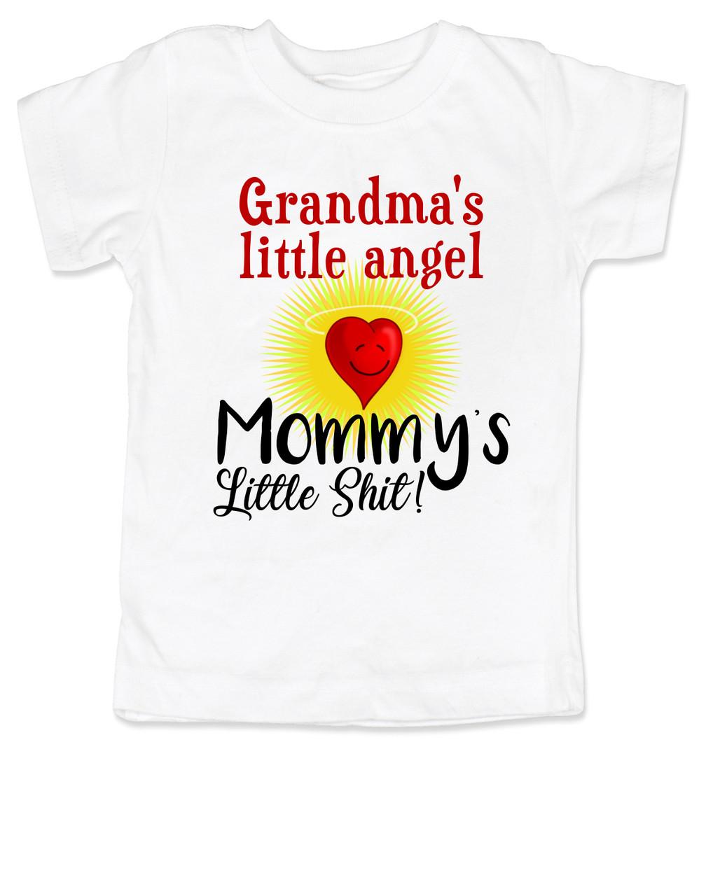 Vulgar baby badass baby threads mommys little shit grandmas little angel toddler shirt little shit toddler tshirt funny negle Image collections