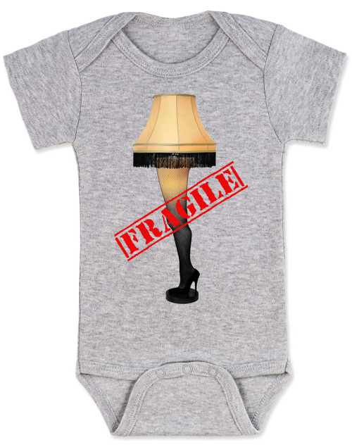 Christmas Story Leg Lamp baby onesie, Fragile onsie, classic Christmas Movie onesie, A Christmas Story, funny christmas baby clothes, grey
