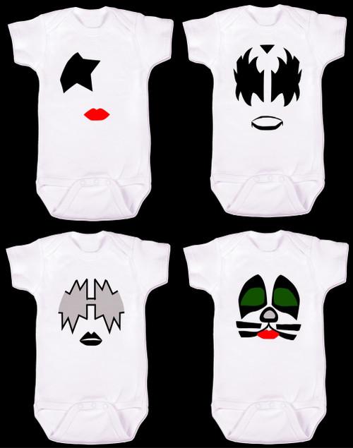 KISS band baby onesie, Gene Simmons onesie, Paul Stanley Onesie, Peter cris Onesie, ace frehley onesie
