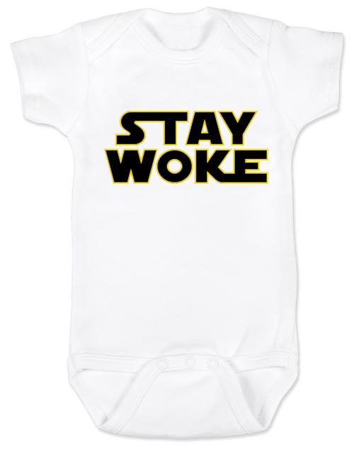 Stay Woke Star Wars Logo baby onesie, White
