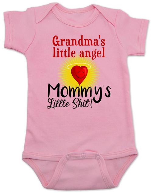 Mommy's little shit, grandma's little angel baby onesie, Little shit baby onsie, funny grandparent baby onesie, funny personalized grand baby gift, mimi's little angel, paw paws little angel, daddy's little shit, pink